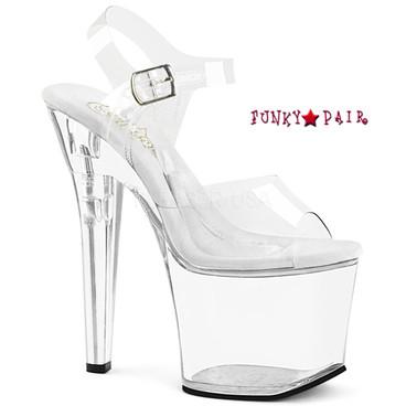 Pleaser | Clear Stripper Shoes Treasure-708RAD, Compartment Platform Shoes @funkypair.com