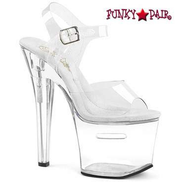 "Pleaser Tipjar-708RAD, 7"" Clear Stripper Shoes with Compartment Platform"