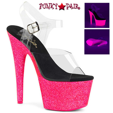 Pleaser Adore-708UVGNP, 7 Inch Glitter POLE Dancing Shoes