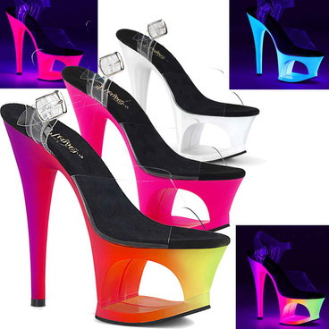 Moon-708UV, UV Reactive Cutout Platform Sandal Pleaser Shoes