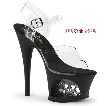 Pleaser Shoes Moon-708SK, Cutout Platform Sandal with Skull