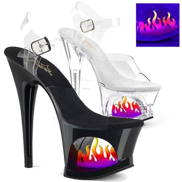 Moon-708FLM, Hot Fire Flame Exotic Dancer Shoes by Pleaser