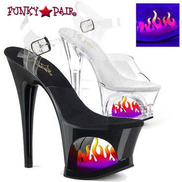 Pleaser | Moon-708FLM, Cutout Platform Sandal with Flame