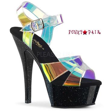 Pleaser Shoes Kiss-220MMR, Multi-Color Straps Sandal Color Magic Mirror TPU/Blk