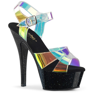Stripper Shoes Kiss-220MMR, Multi-Color Straps Magic Mirror Sandal
