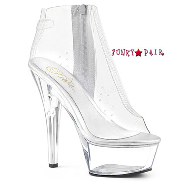Pleaser Shoes | Kiss-1023, Clear Ankle Boots