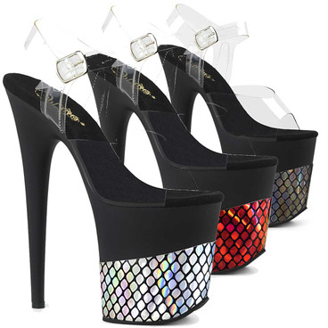 "Stripper Shoes | 8"" Fishnet Print Wrapped Platform Sandal by Pleaser Flamingo-808HFN,"