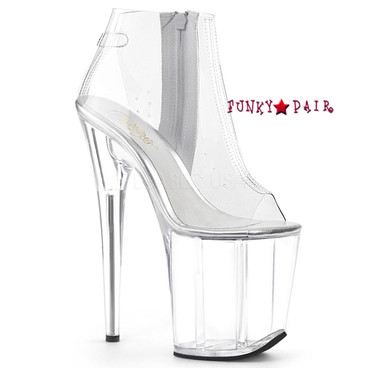 Pleaser Shoes | Flamingo-1023, Clear Ankle Boots