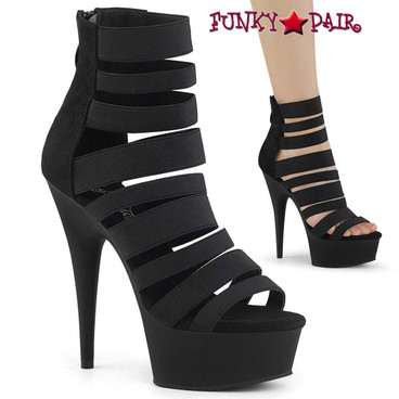 Stripper Shoes Delight-600-17, Elastic Strappy Platform Sandal Color Black Elastic Band