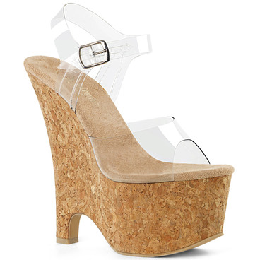 Beau-608, 6.5 Inch Ankle Strap Wedge Sandal Pleaser