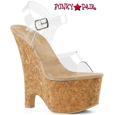 Pleaser | Beau-608, 6.5 Inch Ankle Strap Wedge Sandal
