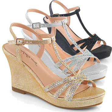 "3"" Formal Platform T-Strap Wedge Fabulicious 
