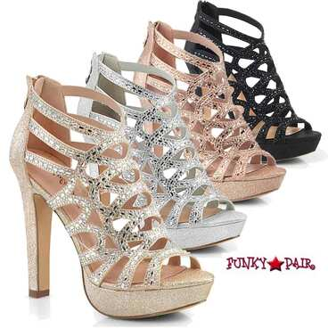 Selene-24, Cutout Cage Sandal Color Available: Rose Gold, Black, Silver and Champagne Shimmering Fabric
