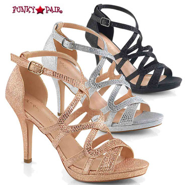 Daphne-42, Strappy Criss-Cross Sandal Color Available: Black, Silver and Rose Gold Shimmering Fabric