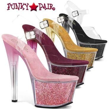 Pleaser | Sky-308G-T, 7 Inch Tinted Heel Glitter Platform Sandal