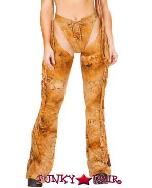 J. Valentine | Fringe Chaps Rave Wear JV-FF101 color rusty  close up