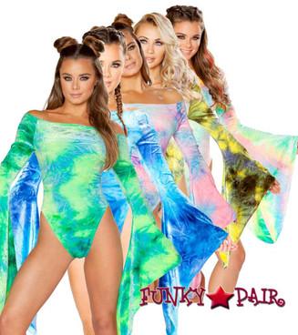 J Valentine   Velvet Long Sleeve Bodysuit Rave Wear JV-FF113 color available: Cotton Kandi, Sky Blue, Sea Tie-Dye, Pastel, Sun Orange, Earth Olive/Yellow