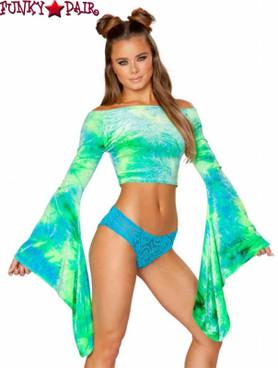Rave Wear Velvet Crop Top | J Valentine JV-FF115 Color sea blue/green