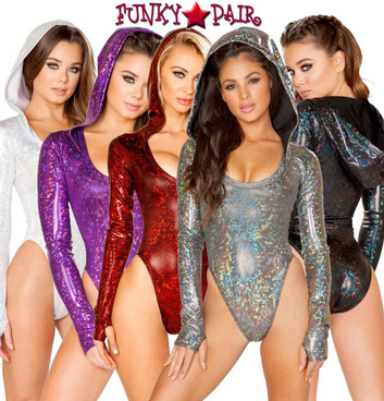 J Valentine | Long Sleeved Hooded Bodysuit Rave Wear JV-FF127 Color available: Black, Red, Silver, Mirror, Raspberry