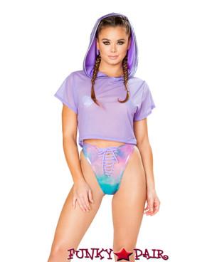 JV-FF163 | Mesh/metallic hooded crop top Color Lavender Shimmer | Rave Wear Brand J Valentine Made in The USA