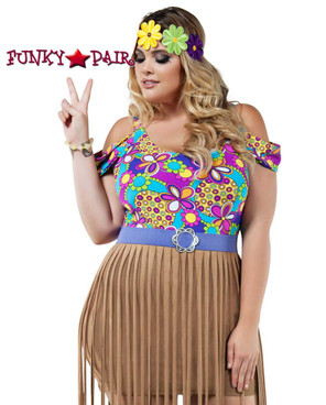 Starline Costume | S8023X, Plus Size Hippy Girl Close Up View