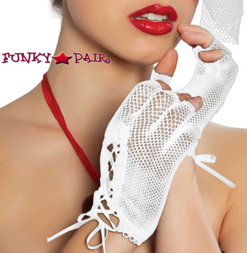 Roma | R-GLF, Fishnet Gloves  color white