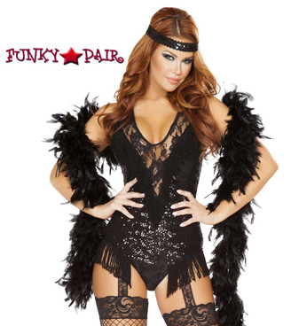 Roma | R-4748, 1920'S Party Flapper Romper Costume  Close up view