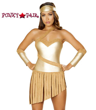 Golden Goddess Romper Costume Roma | R-4848 close up view