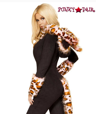 Roma Costume | R-4873 Pink Leopard Romper Jumpsuit side view