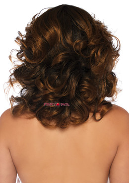 Leg Avenue | LA-2830, Brown Short Wavy Wig back view