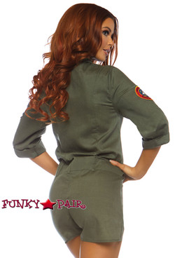 Leg Avenue | TG86747, Top Gun Flight Suit Romper Costume back view