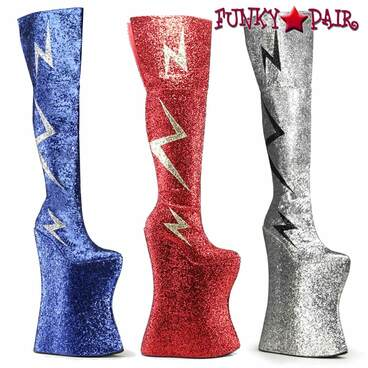 "Spectator 13.5"" Thigh High Lightning Bolt Boots Vivacious-3016 by Devious"