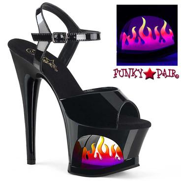 Pleaser Shoes   Moon-709FLM, Flame Platform Ankle Strap Sandal