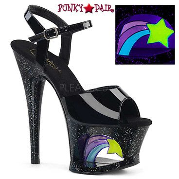 Pleaser Shoes Moon-709RSS, Shooting Star Platform Ankle Strap Sandal