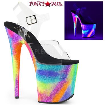 Pleaser Shoes | Flamingo-808GXY, Stiletto Heel with Reactive Galaxy Effect Platform Bottom