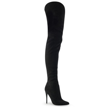 "Pleaser | Courtly-3017, 5"" Suede Thigh High Boot Featuring Gathered Inner Shaft & Asymmetrical Raised Outer Shaft"