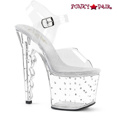 Pleaser | Scallop-708SD, Scalloped Heel Platform with Multi-Size Rhinestones Sandal