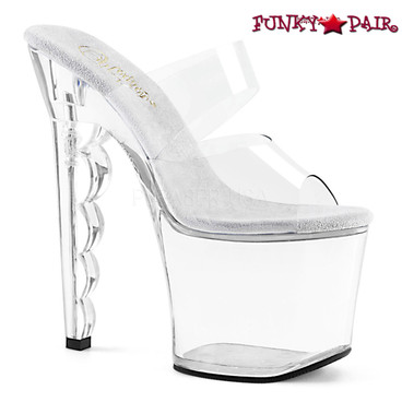 Pleaser Shoes | Scallop-702, Scalloped Heel Dual Strap Slide