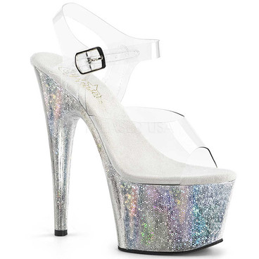 Pleaser | Adore-708HB, Ankle Strap Sandal with Holographic Orb Effect Platform