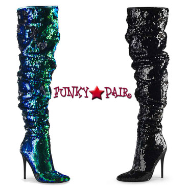 Pleaser | Courtly-3011, 5 Inch Slouchy Over the Knee Boots