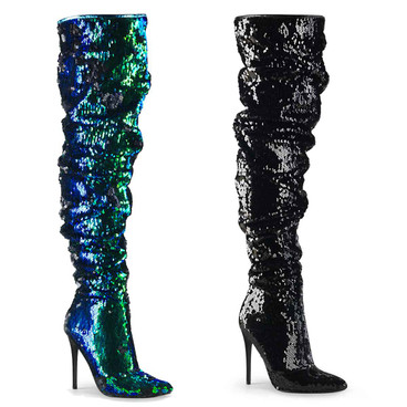 Courtly-3011, 5 Inch Slouchy Over the Knee Boots by Pleaser