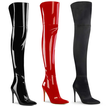 Courtly-3012, Thigh High Boots with Back Slit by Pleaser