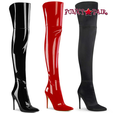 """Pleaser   Courtly-3012, 5"""" Thigh High Boots with Back Slit"""