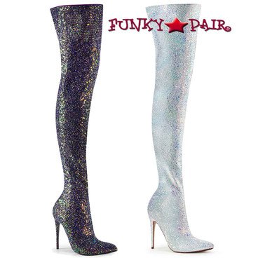 Pleaser | Courtly-3015, Glitter Thigh High Boots Color available: Silver or Black