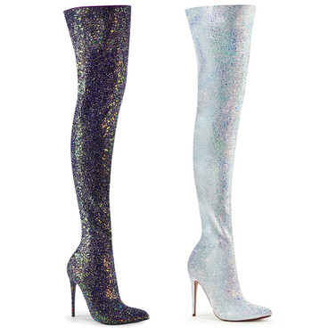 Courtly-3015 Glitter Thigh High Boots by Pleaser