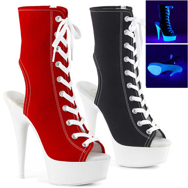 """Delight-1016SK, 6"""" Heel Lace Up Canvas Sport Platform Boots by Pleaser USA"""