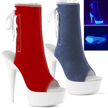 Pleaser DELIGHT-1016SK Women/'s Black Canvas Neon White Heel Ankle Mid-Calf Boots