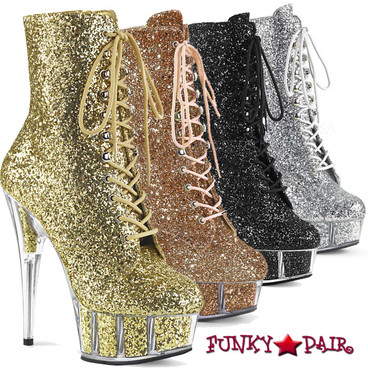 Pleaser Clearance| Delight-1020G, Glitter Ankle Boots
