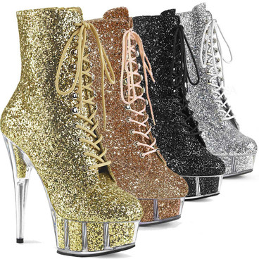 Stripper Shoes Delight-1020G, Glitter Ankle Boots