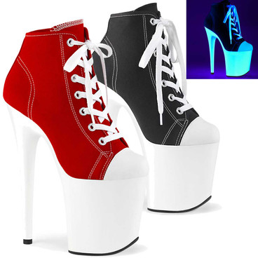 Flamingo-800SK-02, 8 Inch Stiletto Heel Platform Canvas Sneaker by Pleaser